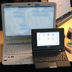The laptop is approx A4 size, the netbook is the size of a paperback.