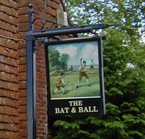 Bat & Ball Inn near Hambledon Cricket Club, CC via Wikipedia